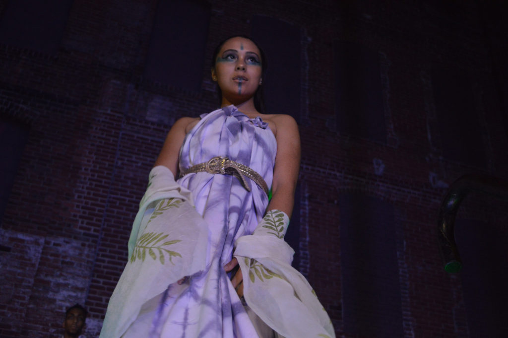 femme youth member modeling a shibori dyed dress and shawl by Ming at the FW4 runway show. photo by Diana Izaguirre