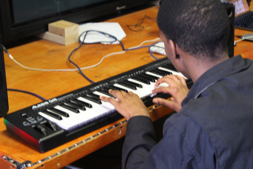 NLA student at the keyboard
