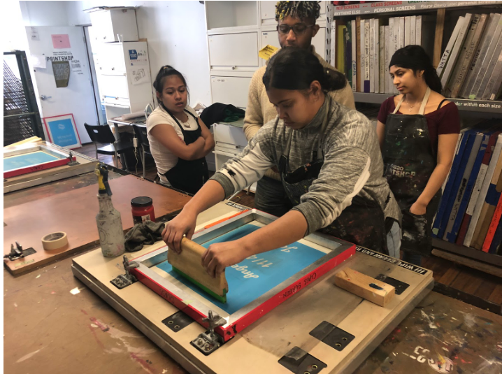 NLA students screen print with instructor Kyle