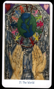 design for The world tarot card. the globe is on the top half of the card, surrounded by multicolor human figures holding hands. below, two hands are palms up, as if to catch to world. in the background there is a dark, starry sky and a heart in each corner